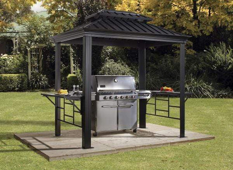 Sojag FLASH SALE! Sojag BBQ Messina 6 ft. x 8 ft. Dark Gray Hardtop Grill Gazebo 500-9162875 Sojag BBQ Messina 6 ft. x 8 ft. Dark Gray Hardtop Grill Gazebo 500-9162875 500-9162875 / 6'x8' steel roof Shade