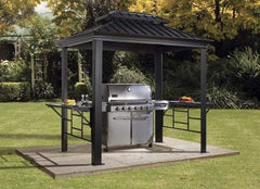Image of SOJAG BBQ Messina 6 ft. x 8 ft. Dark Gray Hardtop Grill Gazebo 500-9162875
