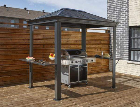 Sojag FLASH SALE! Sojag BBQ Mykonos 5 ft x 8 ft Light Gray Hardtop Grill Gazebo 500-9162882 Sojag BBQ Mykonos 5 ft x 8 ft Light Gray Hardtop Grill Gazebo 500-9162882 Shade