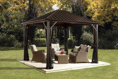 Image of Sojag Dakota 8 ft x 8 ft Dark Brown Hardtop Gazebo 500-9164992