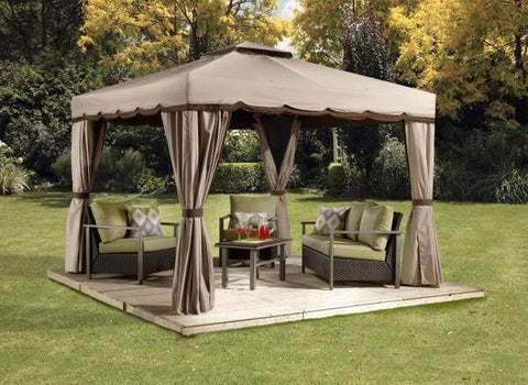 Sojag FLASH SALE! Sojag Roma 10 ft x 10 ft Beige with Brown Trim Soft Top Gazebo 500-9165388 Sojag Roma 10 ft x 10 ft Beige with Brown Trim Soft Top Gazebo 500-9165388 Shade