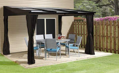 Image of Sojag Sutton 10 ft x 12 ft Dark Brown Wall-Mounted Hardtop Gazebo 500-9165371