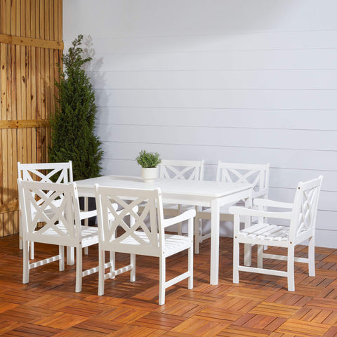Vifah FLASH SALE! Vifah Bradley Outdoor 7-piece Wood Patio Dining Set in White V1336SET19 VIFAH Bradley Outdoor 7-piece Wood Patio Dining Set in White Option 1 Dining