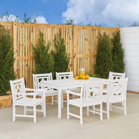 Vifah FLASH SALE! Vifah Bradley Outdoor 7-piece Wood Patio Rectangular Table Dining Set V1336SET27 VIFAH Bradley Outdoor 7-piece Wood Patio Rectangular Table Dining Set Dining