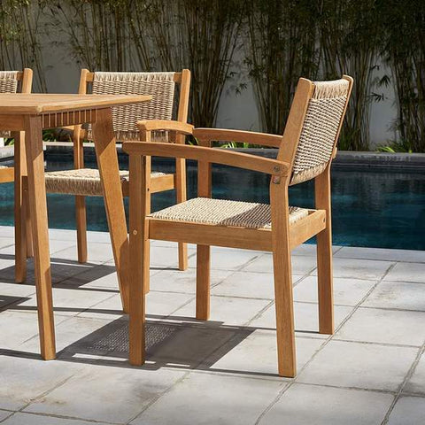 Vifah FLASH SALE! Vifah Chesapeake Outdoor Natural 7-Piece Wood Dining Set V1950SET2 VIFAH Chesapeake Outdoor Natural 7-Piece Wood Dining Set Dining