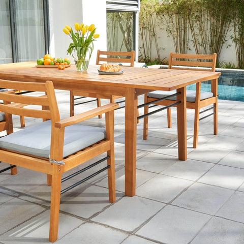 Vifah FLASH SALE! Vifah Gloucester Teak-like 5-Piece Dining Set V1919SET1 VIFAH Gloucester Teak-like 5-Piece Dining Set 5-Piece Dining
