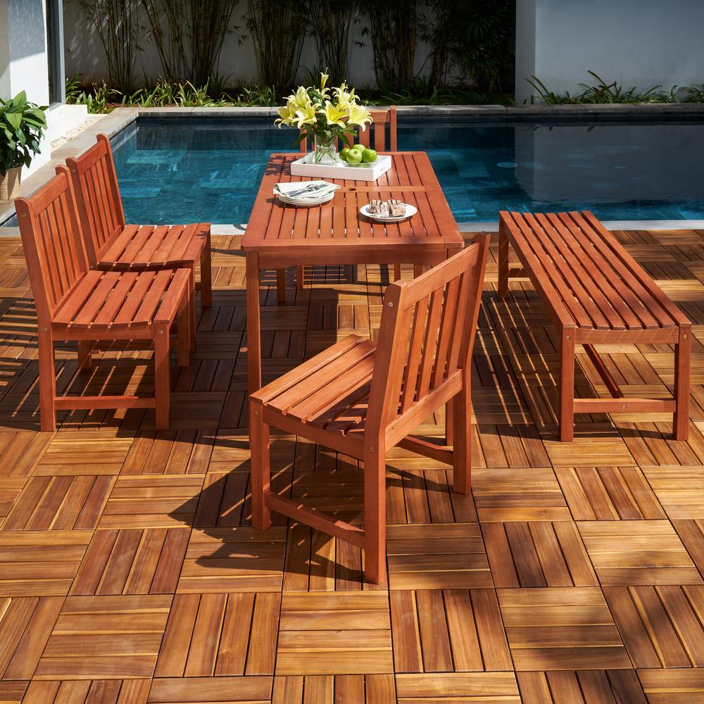 Vifah FLASH SALE! Vifah Malibu Outdoor 6-piece Wood Patio Dining Set with Backless Bench and Chairs V98SET80 VIFAH Malibu Outdoor 6-piece Wood Patio Dining Set with Backless Bench and Chairs Dining