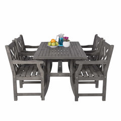 VIFAH Renaissance Outdoor 5-piece Hand-scraped Wood Patio Dining Set