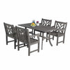 Image of Vifah FLASH SALE! Vifah Renaissance Outdoor 5-piece Hand-scraped Wood Patio Dining Set V1300SET2 VIFAH Renaissance Outdoor 5-piece Hand-scraped Wood Patio Dining Set Dining