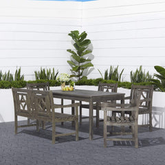 VIFAH Renaissance Outdoor 6-piece Wood Patio Rectangular Table Dining Set