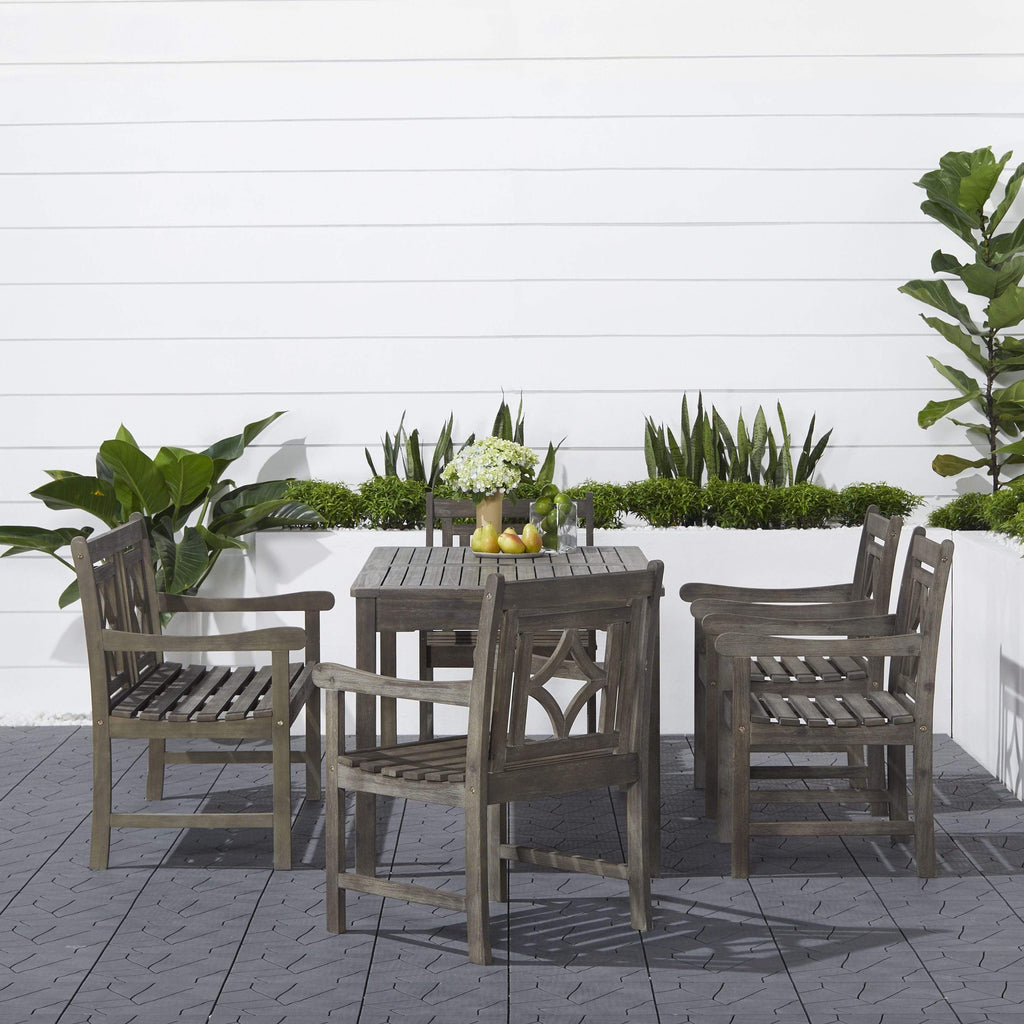 Vifah FLASH SALE! Vifah Renaissance Outdoor 6-piece Wood Patio Rectangular Table Dining Set V1297SET32 VIFAH Renaissance Outdoor 6-piece Wood Patio Rectangular Table Dining Set Dining