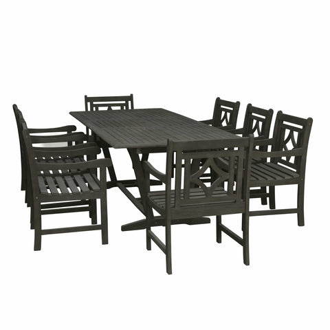 Vifah FLASH SALE! Vifah Renaissance Outdoor 7-piece Wood Patio Extendable Table Dining Set V1294SET25 VIFAH Renaissance Outdoor 7-piece Wood Patio Extendable Table Dining Set Extendable Dining