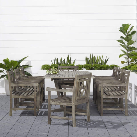 Vifah FLASH SALE! Vifah Renaissance Outdoor 9-piece Wood Patio Extendable Table Dining Set V1294SET26 VIFAH Renaissance Outdoor 9-piece Wood Patio Extendable Table Dining Set Dining