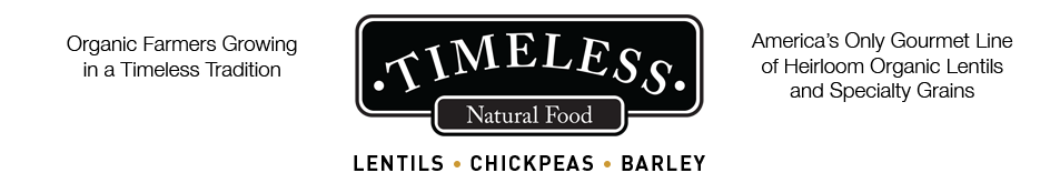 Timeless Seeds Natural Food Logo Lentils Chickpeas and  Barley