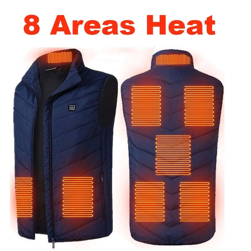 8 Areas Heated Vest Men Electric Heating Vest Thermal Warm Clothes Outdoor Fishing Hunting Vest
