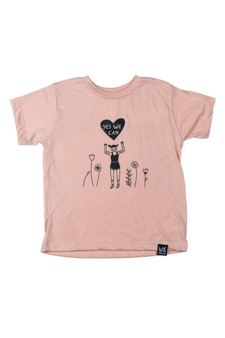 Yes We Can! Girls Peach T-Shirt