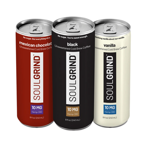 Soul Grind Cold Brew CBD drink available in 3 flavor options.