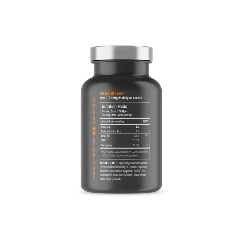 Broad Spectrum CBD + Curcumin Oil Softgels