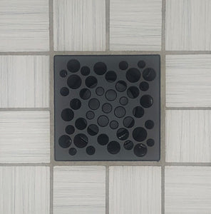 Ebbe E4812 Bubbles Matte Black Square Shower Drain