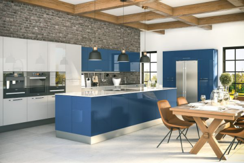 Zurfiz Ultragloss Baltic Blue and Ultragloss Light Grey Replacement Kitchen Doors