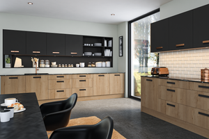 Bella Lazio Kitchen in halifax natural oak and matt grey graphite