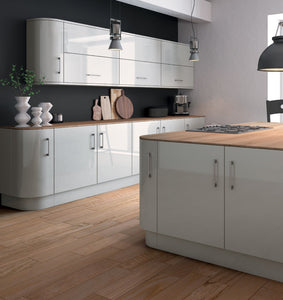 Zurfiz Kitchen in  Ultragloss Light Grey Colour