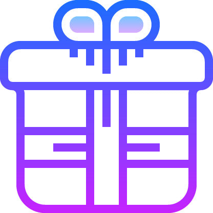 Purple icon on a wrapped gift with a bow on top