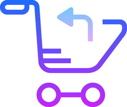 Purple icon of a trolley with an arrow pointing backwards