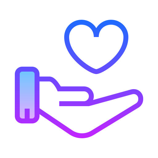 Purple icon of an outstretched hand with a love-heart in it
