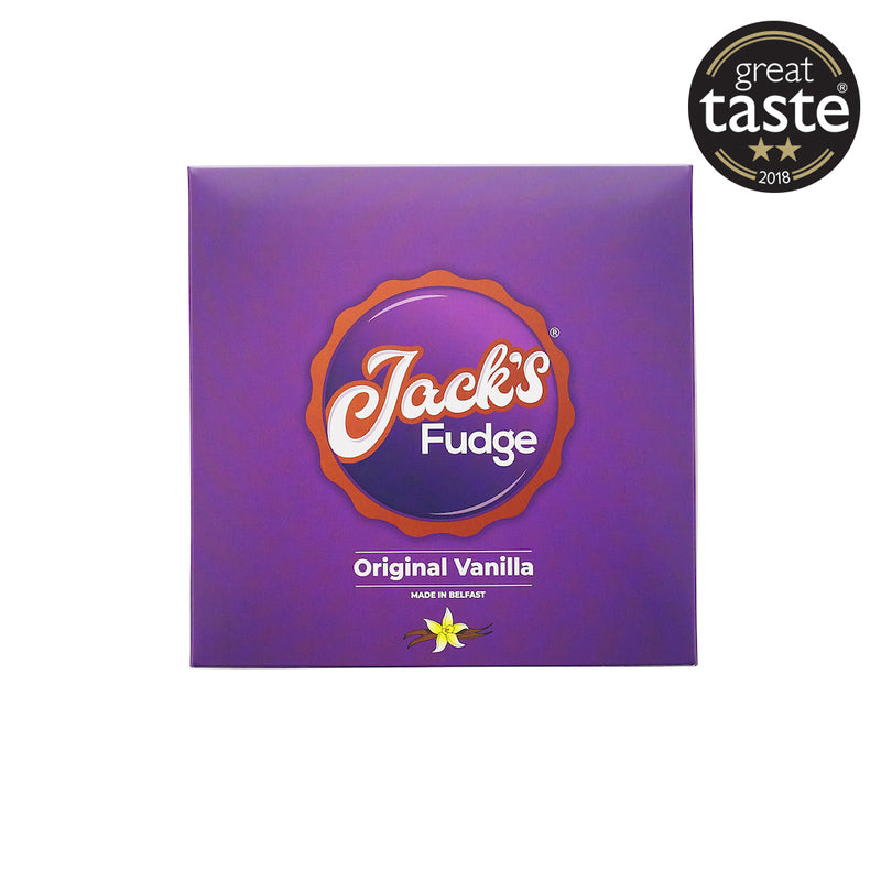 A purple square gift box of Jack's Original Vanilla fudge. In the middle is Jack's Fudge logo with 'Original Vanilla' in white writing below. An image of a vanilla pod and flower is below. In the right hand corner is a circular Great Taste Award of two stars.
