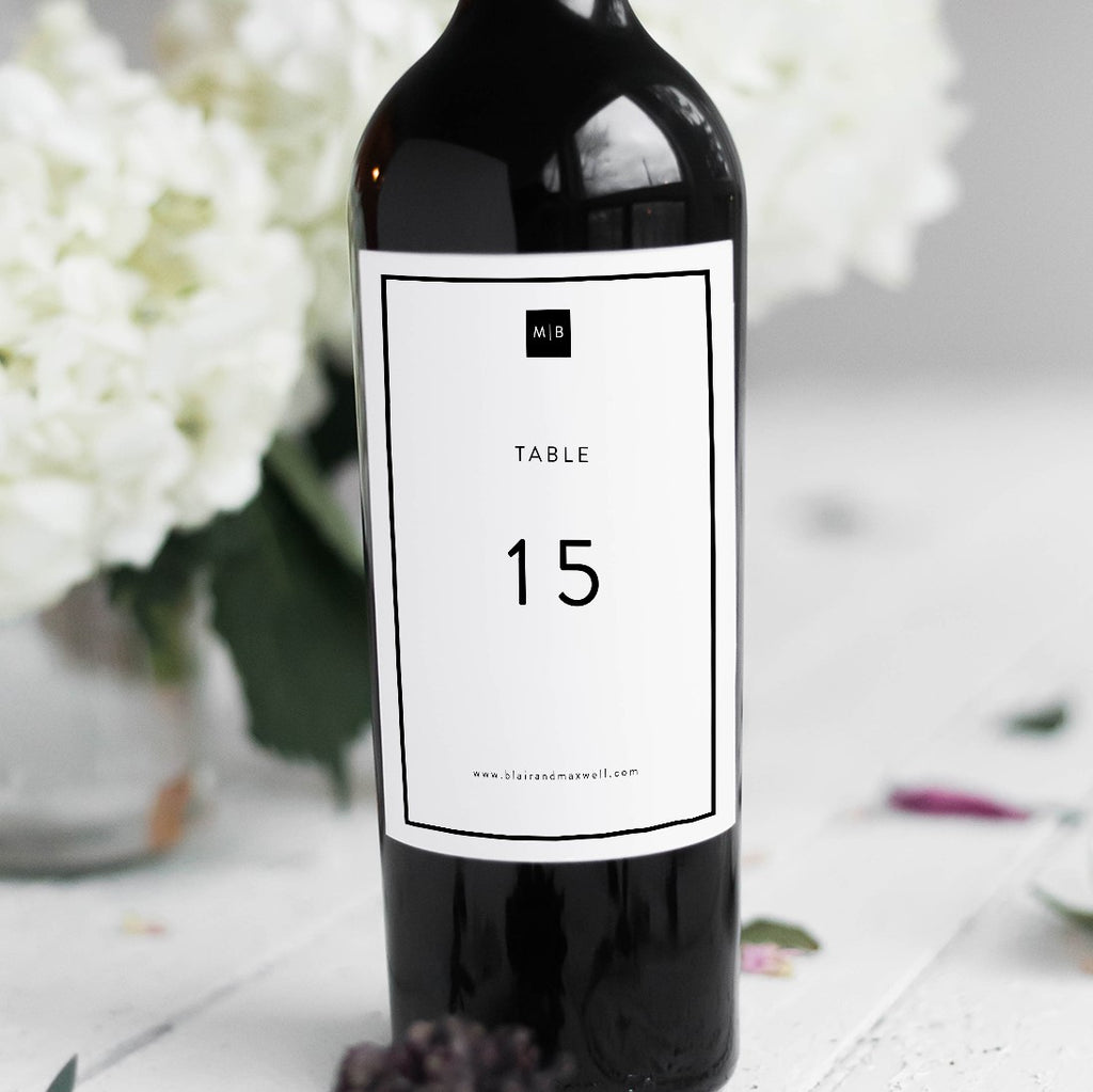 Formal Event Table Numbers Wine Bottle Stickers