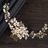 White and Gold Crystal Bridal Hair Comb