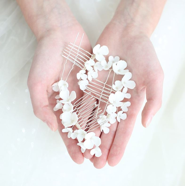 5-piece set White Ceramic Bridal Hair Pins