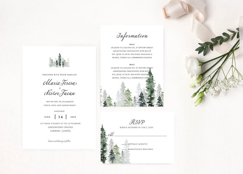 Rustic Mountain Wedding Invitation Suite