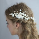 White and Gold Ceramic Bridal Hair Comb