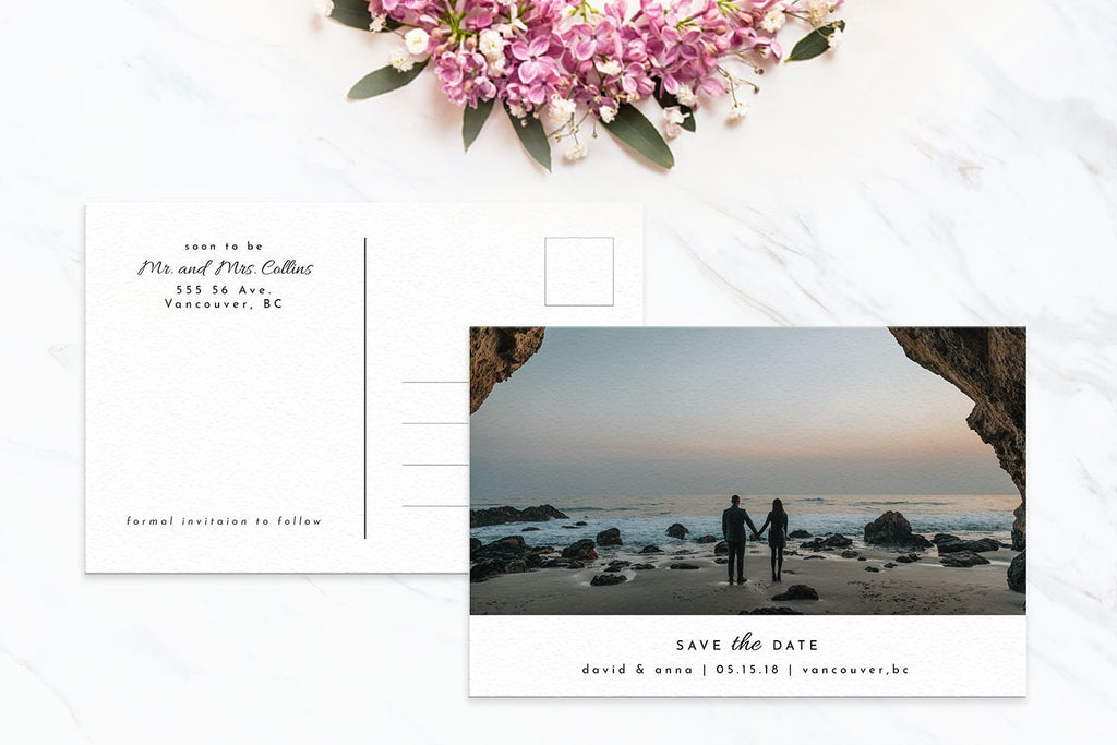 Minimalist Postcard Save the Date