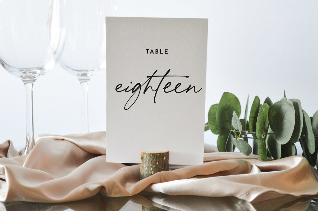 Contemporary Minimalist Table Numbers