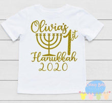 Load image into Gallery viewer, Girl's 1st Hanukkah Baby Onesie / Bib / Toddler T Shirt - Cutesy Baby Boutique