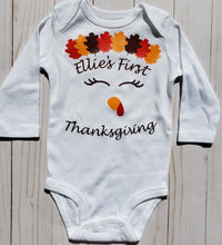 Load image into Gallery viewer, Girl's First Thanksgiving Baby Onesie / Bib / Toddler T Shirt - Cutesy Baby Boutique