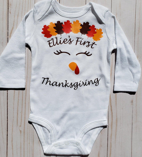 Girl's First Thanksgiving Baby Onesie / Bib / Toddler T Shirt - Cutesy Baby Boutique