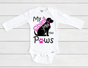My Sibling has Paws Baby Onesie® / Bib / Toddler T-Shirt - Cutesy Baby Boutique