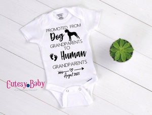 Promoted to Human Grandparent Baby Onesie® / Bib - Cutesy.Baby