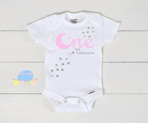 Twinkle Twinkle One Pale Pink & Silver Birthday Girl Baby Onesie® / Bib / Toddler T-Shirt - Cutesy Baby Boutique