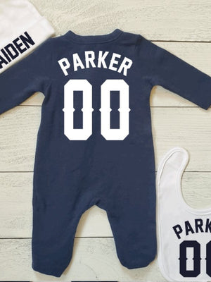 custom navy blue baby sleeper set