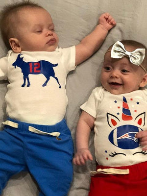 Sports themed custom baby onesies