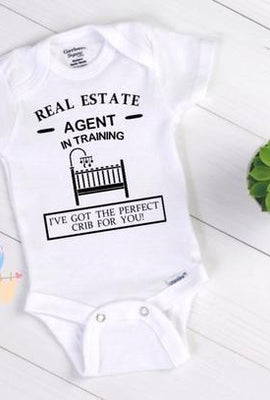 real estate agent in training baby onesie