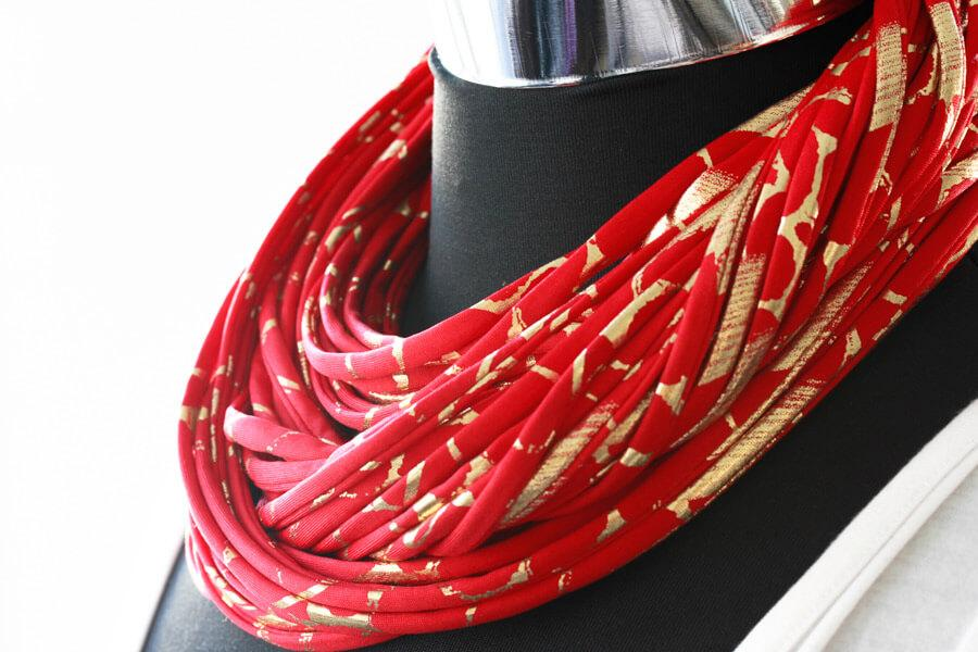 Red and Gold Neck Scarf for Women