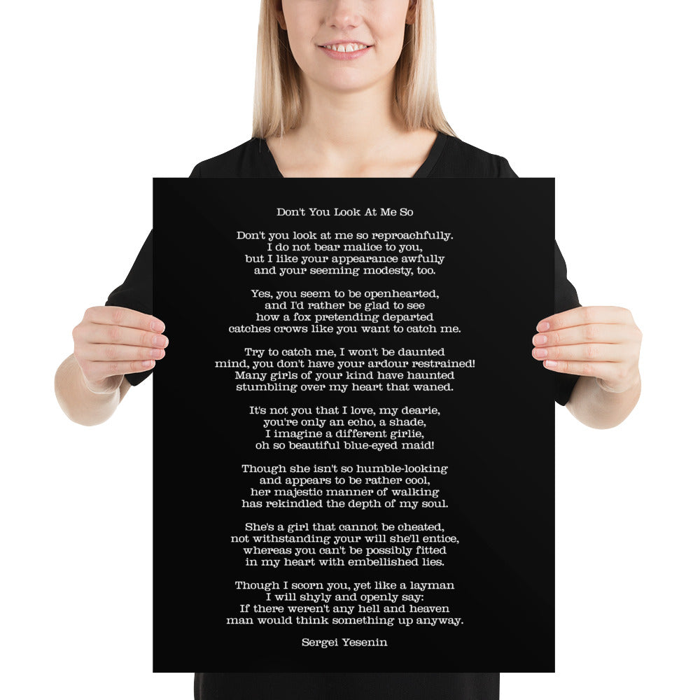 Poster - Quotes - Poems - Don't you look, S. Yesenin, black, 16x20