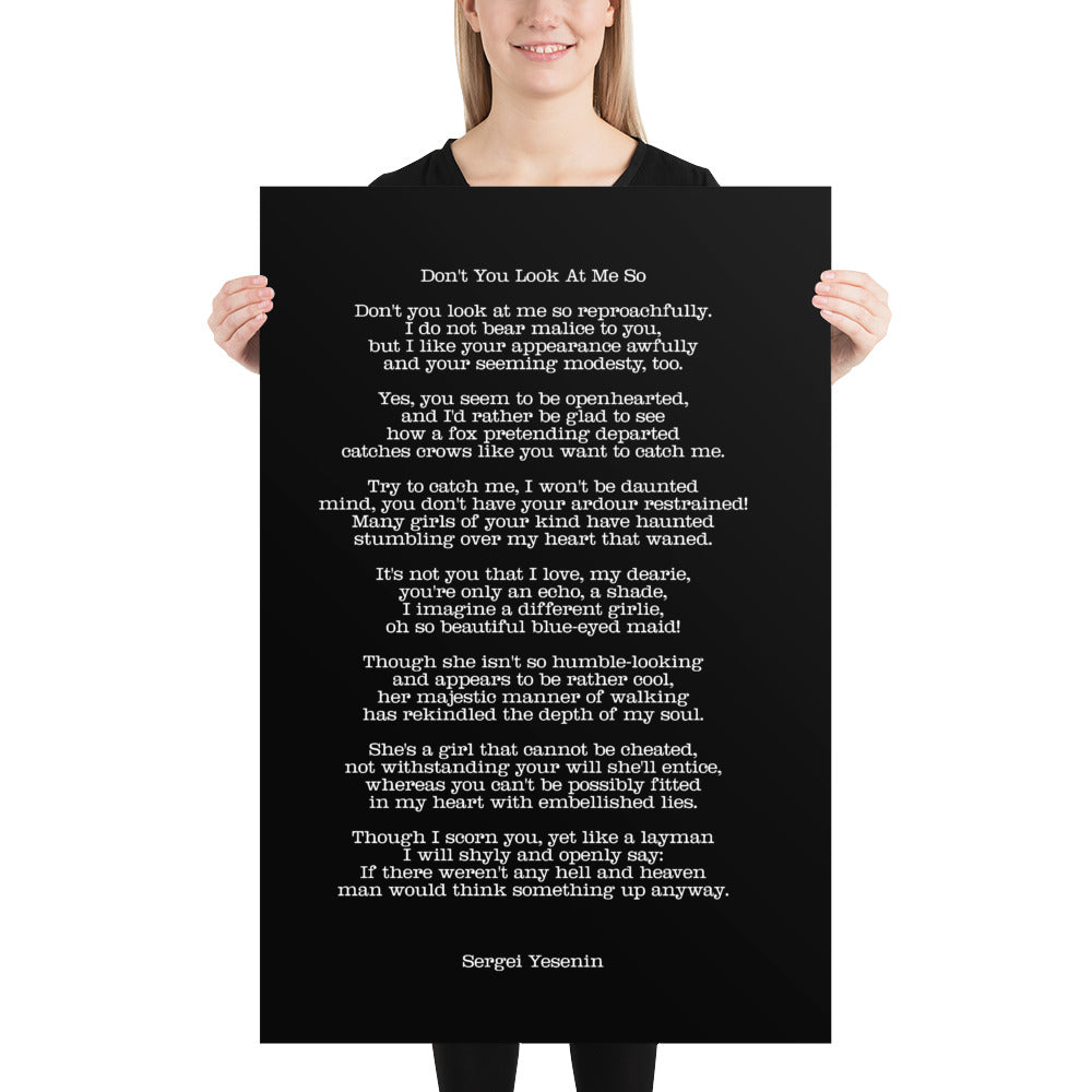 Poster - Quotes - Poems - Don't you look, S. Yesenin, black, 24x36