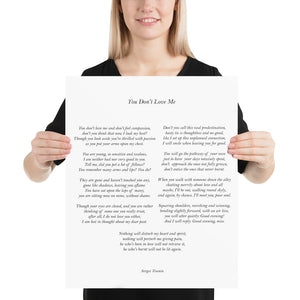 Poster - Book Quotes, You don't love me, S. Yesenin, white, 16x20